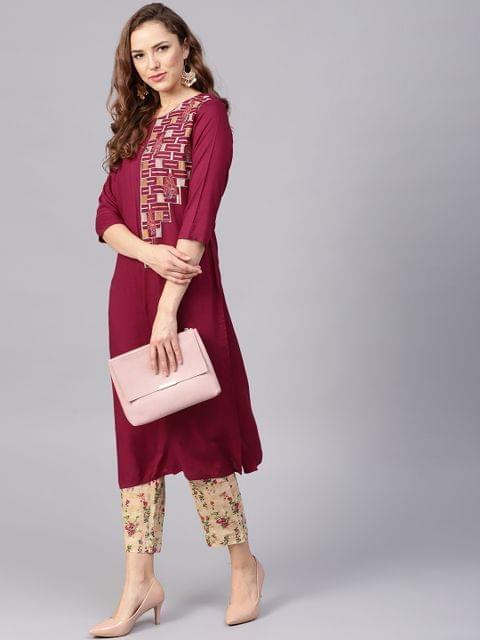 Yufta Women Burgundy & Beige Yoke Design Kurta with Trousers