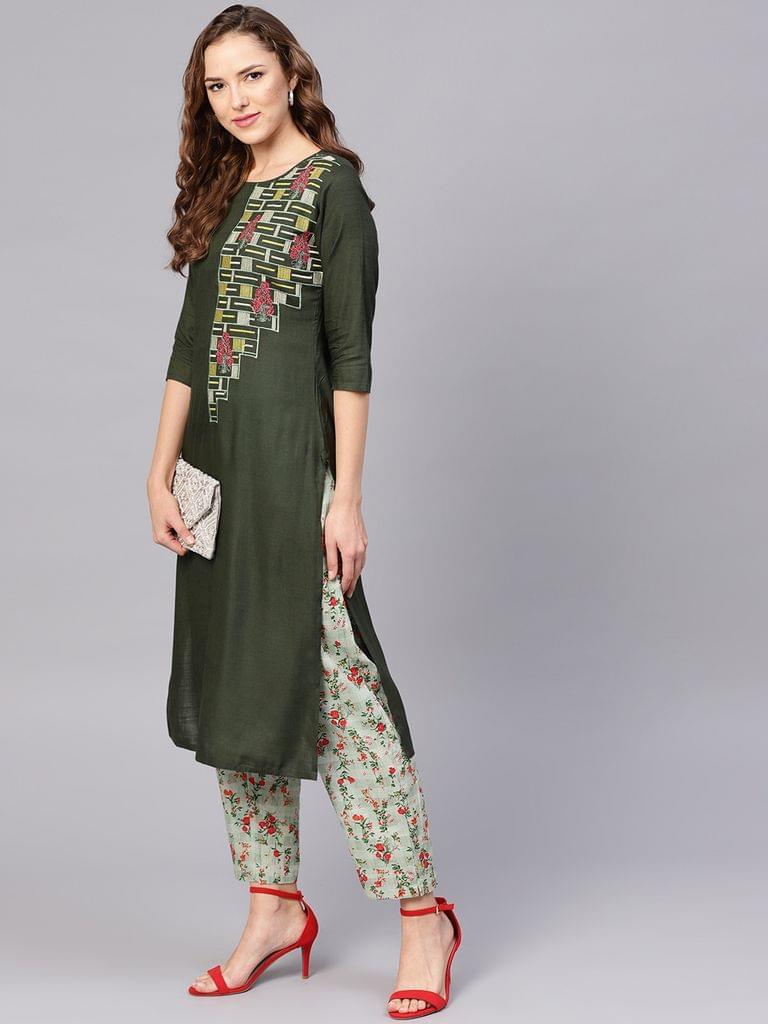 Yufta Women Olive Green Yoke Design Kurta with Trousers