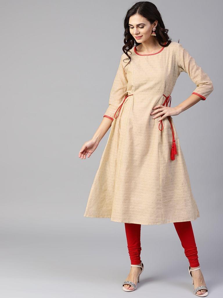 Yufta Women Beige Woven Design A-Line Kurta