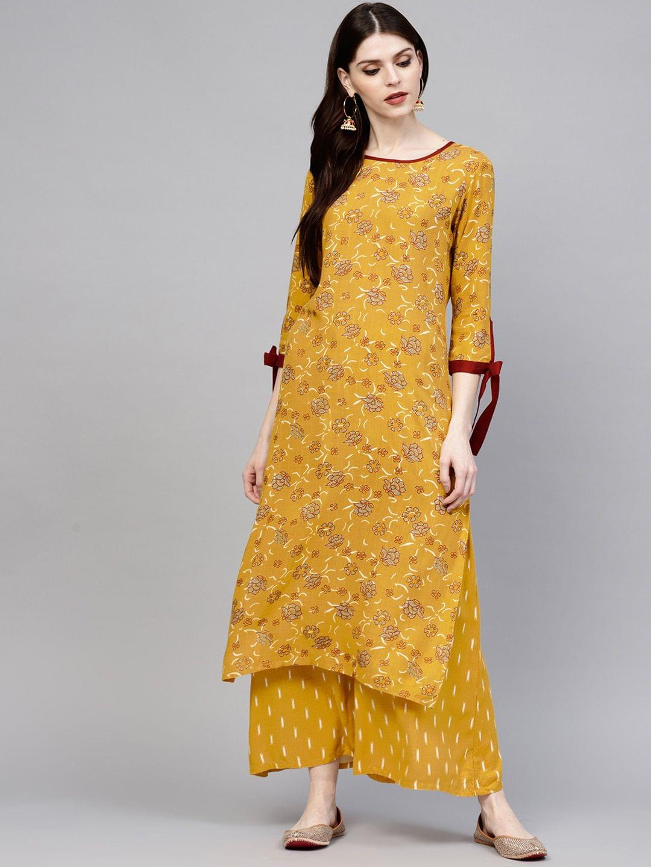 Yufta Women Mustard Yellow Printed Kurta with Palazzos