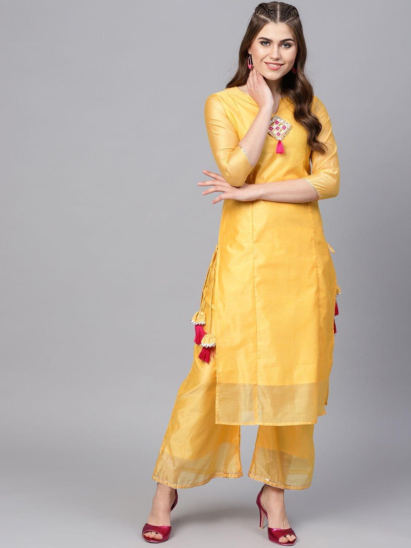 Yufta Women Yellow Solid Kurta with Palazzos