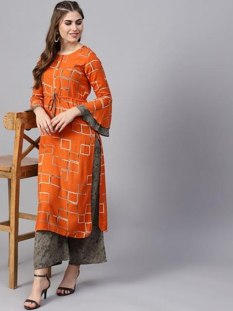 Yufta Women Orange & Grey Printed Kurta with Palazzos