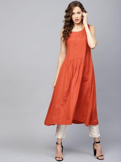Yufta Women Orange Solid A-Line Kurta