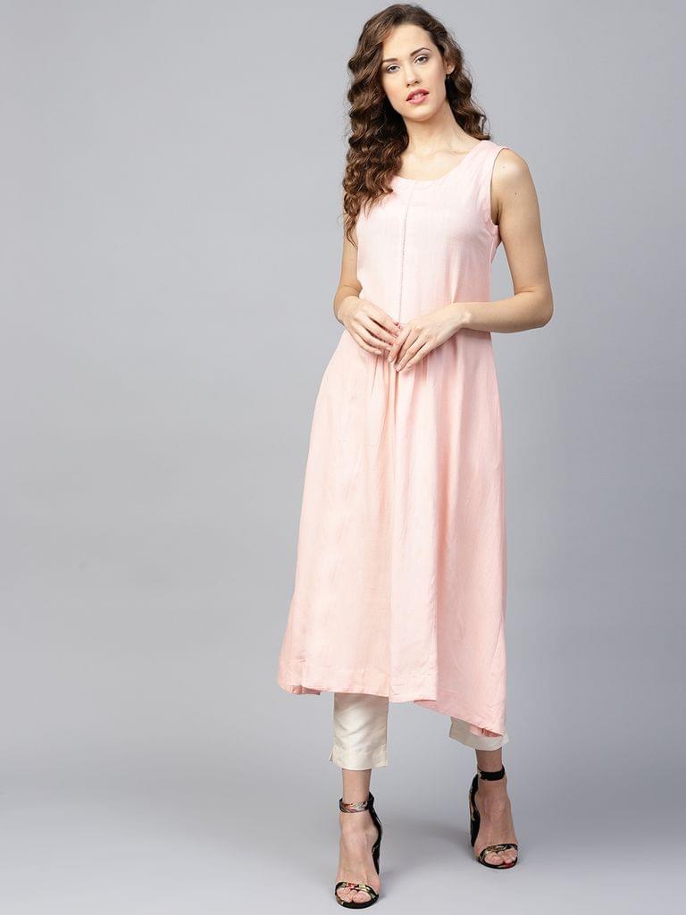 Yufta Women Pink Solid A-Line Kurta