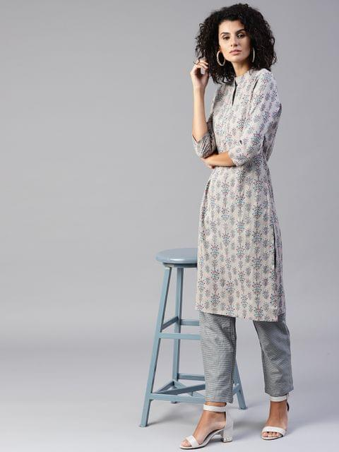 Yufta Women Grey Printed Kurta with Trousers