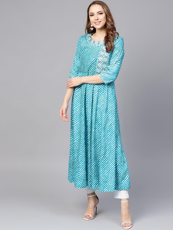 Yufta Women Blue & White Leheriya Print A-Line Kurta