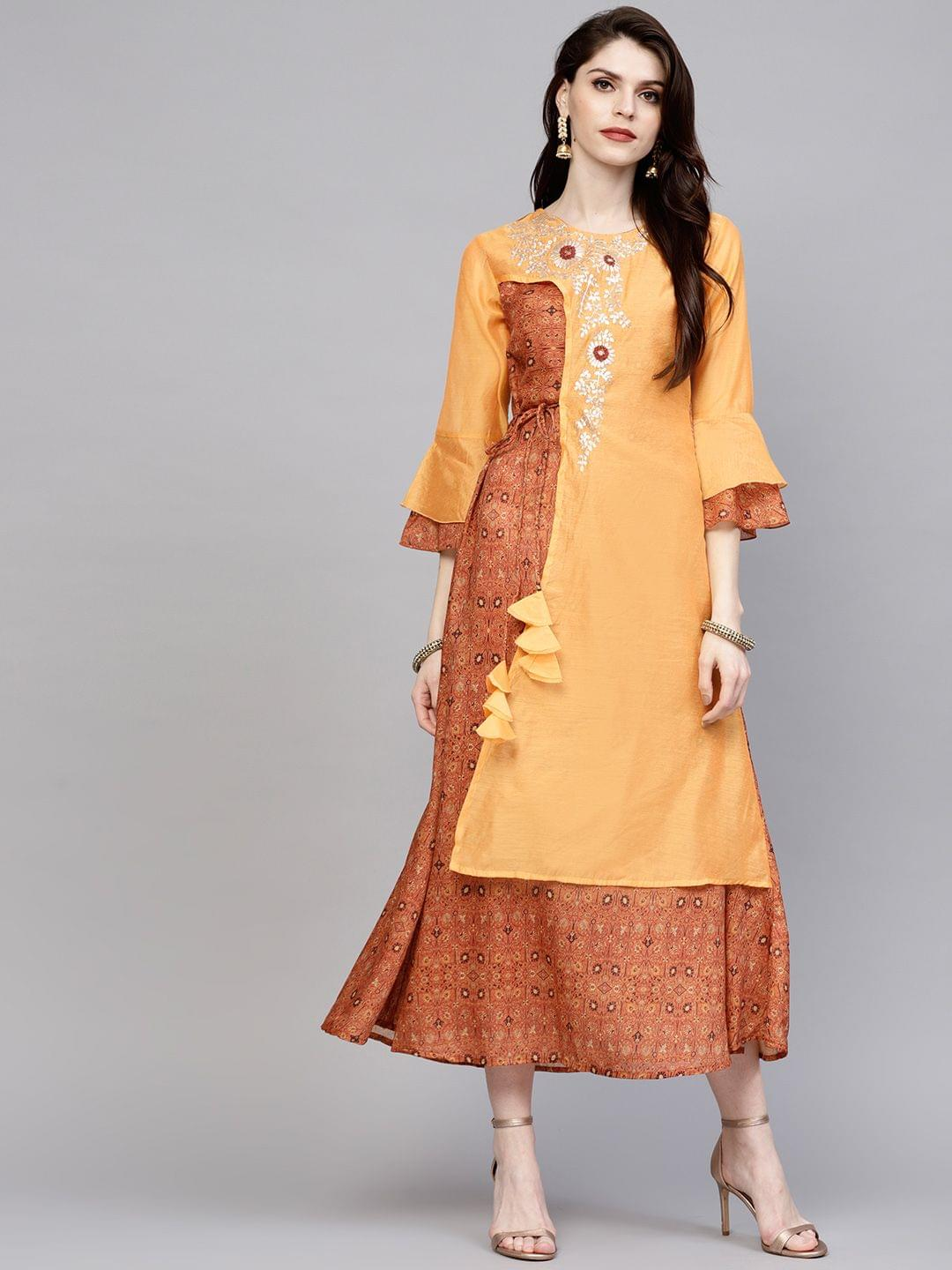Yufta Women Orange & Brown Printed Layered A-Line Dress