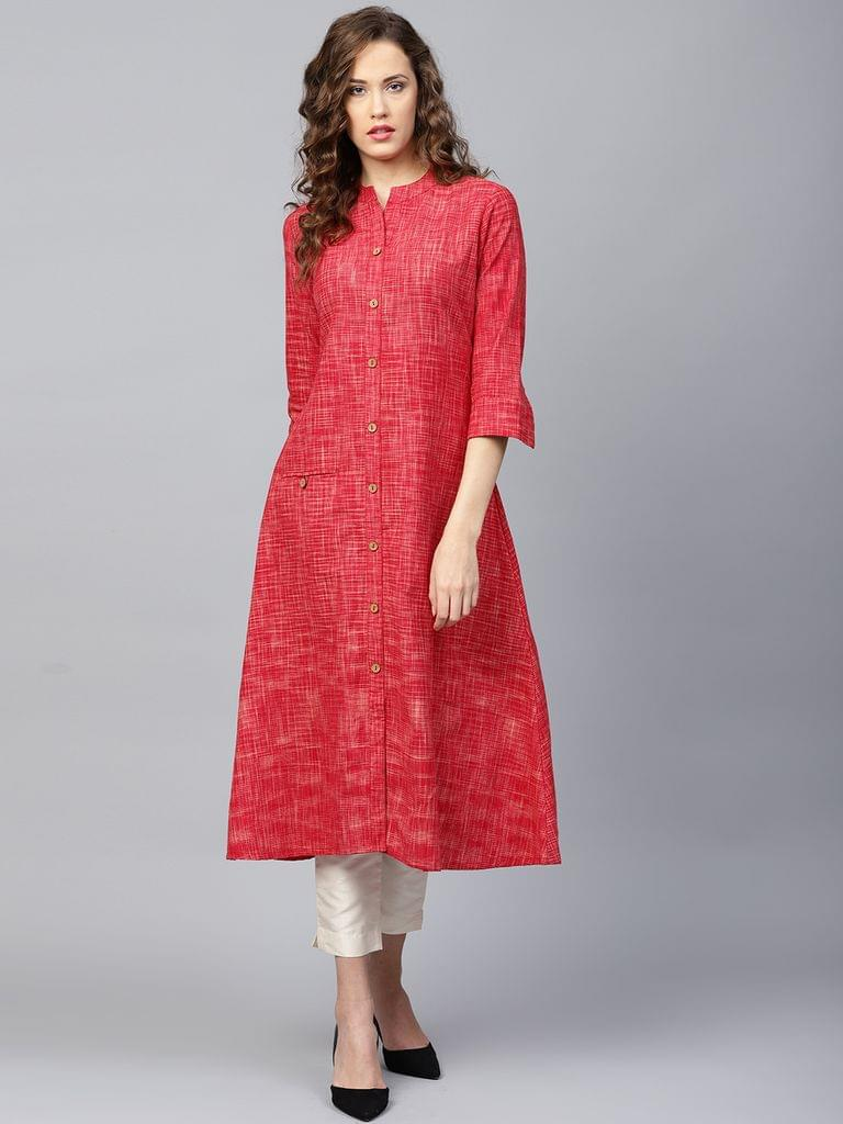 Yufta Women Red Self-Checked A-Line Kurta