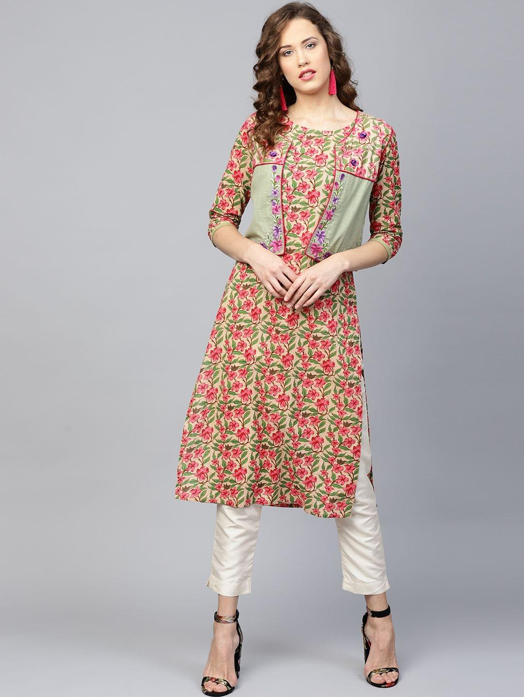 Yufta Women Beige & Pink Floral Print Straight Kurta with Ethnic Jacket