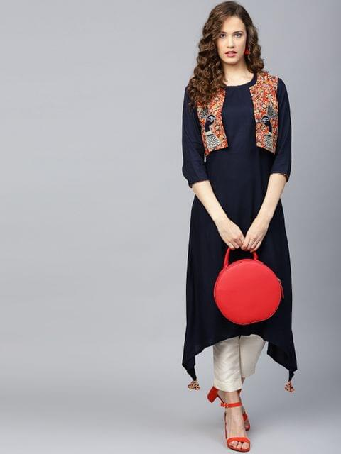 Yufta Women Navy Blue Solid A-Line Kurta with Ethnic Jacket
