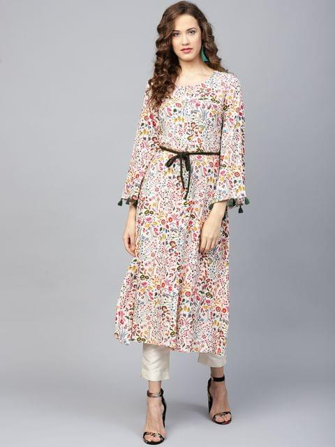 Yufta Women Multicoloured Floral Print A-Line Kurta