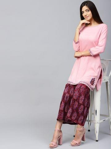 Yufta Women Pink & Maroon Solid Kurta with Sharara