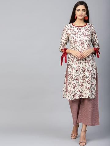 Yufta Women Off-White & Maroon Printed Kurta with Palazzos