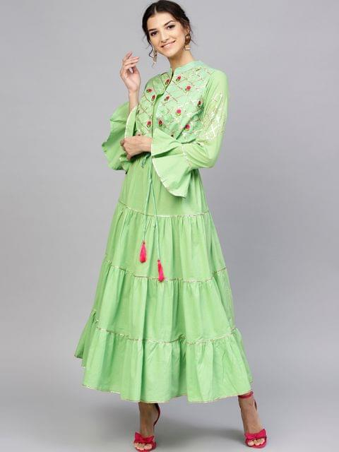 Women Green Solid Maxi Dress with Ethnic Jacket