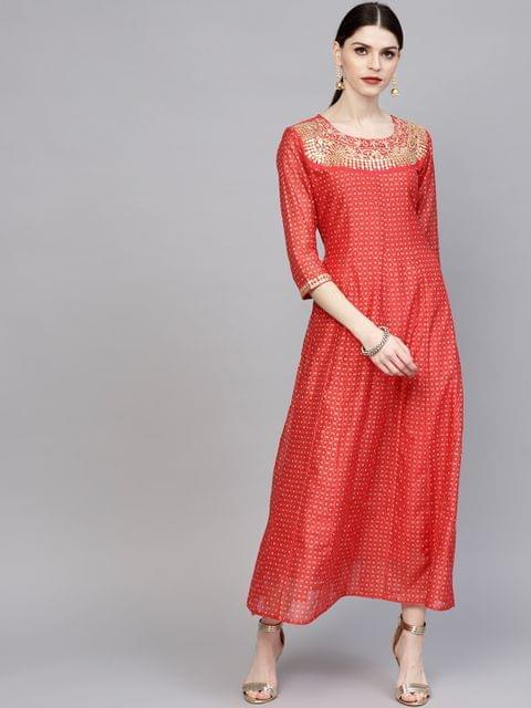 Women Red & Golden Printed Maxi Dress with Gota Patti Detail