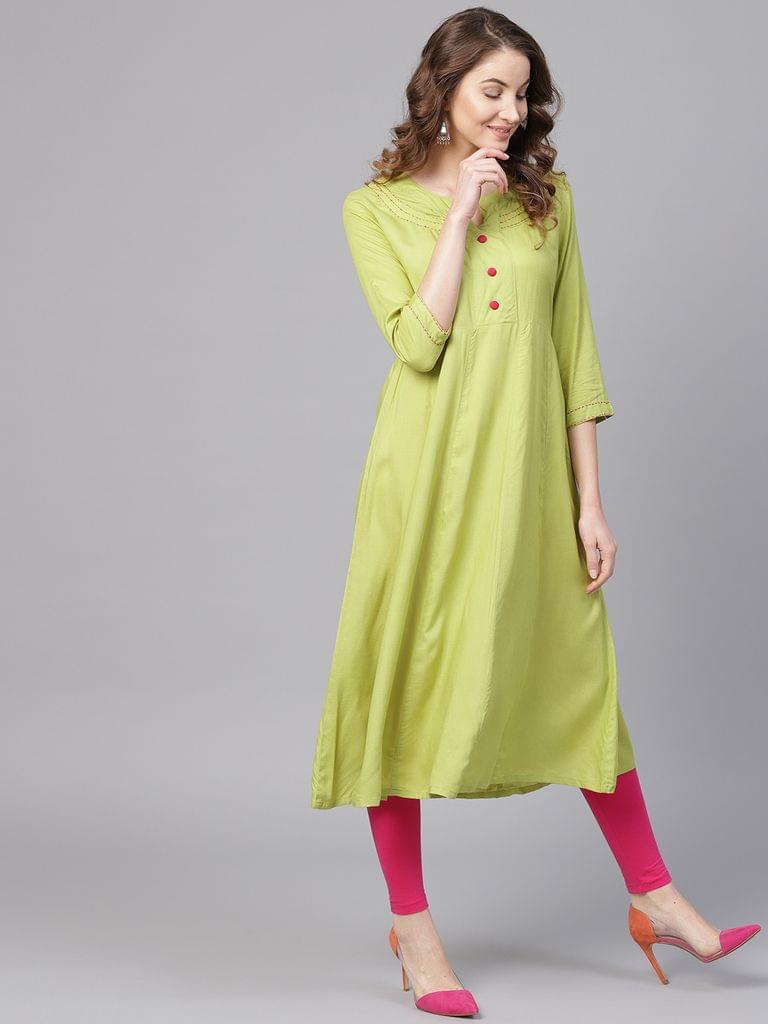 Yufta Women Green Solid Anarkali Kurta