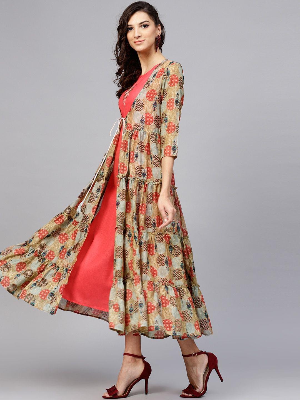 Women Coral Orange & Beige Printed Layered A-Line Dress