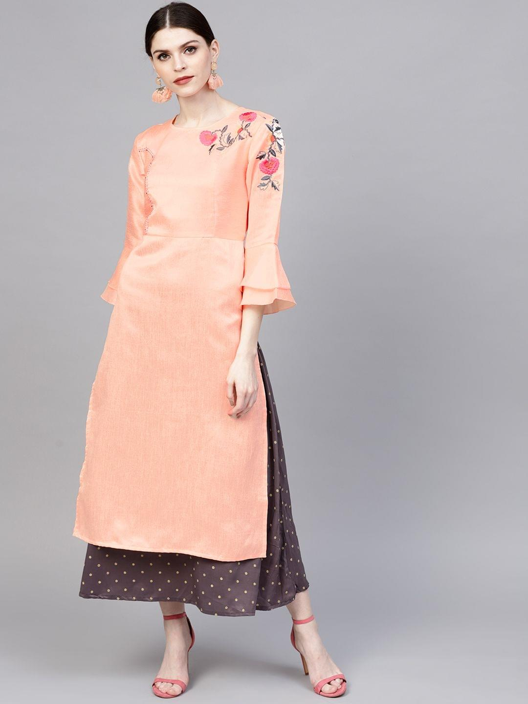 Women Pink Solid Layered Maxi Dress with Embroidered Detail