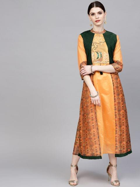 Women Orange & Green Printed Layered Midi A-Line Dress
