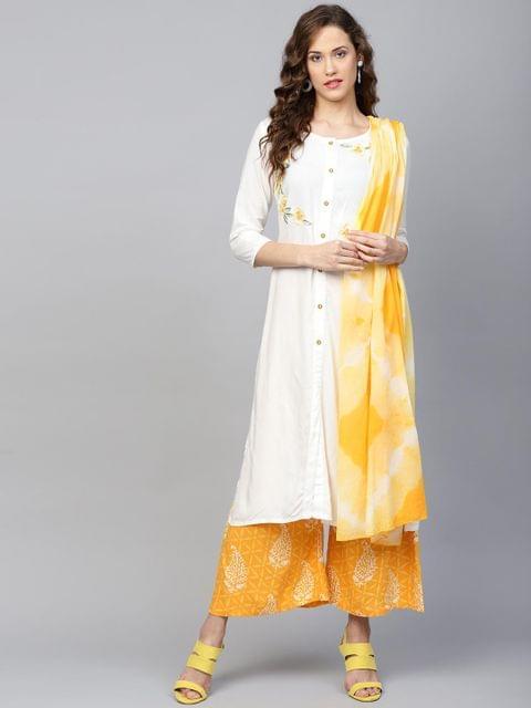 Yufta Women White & Yellow Embroidered Kurta with Palazzos & Dupatta