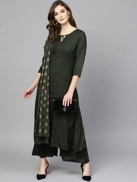 Women Green Solid Kurta with Palazzos & Dupatta