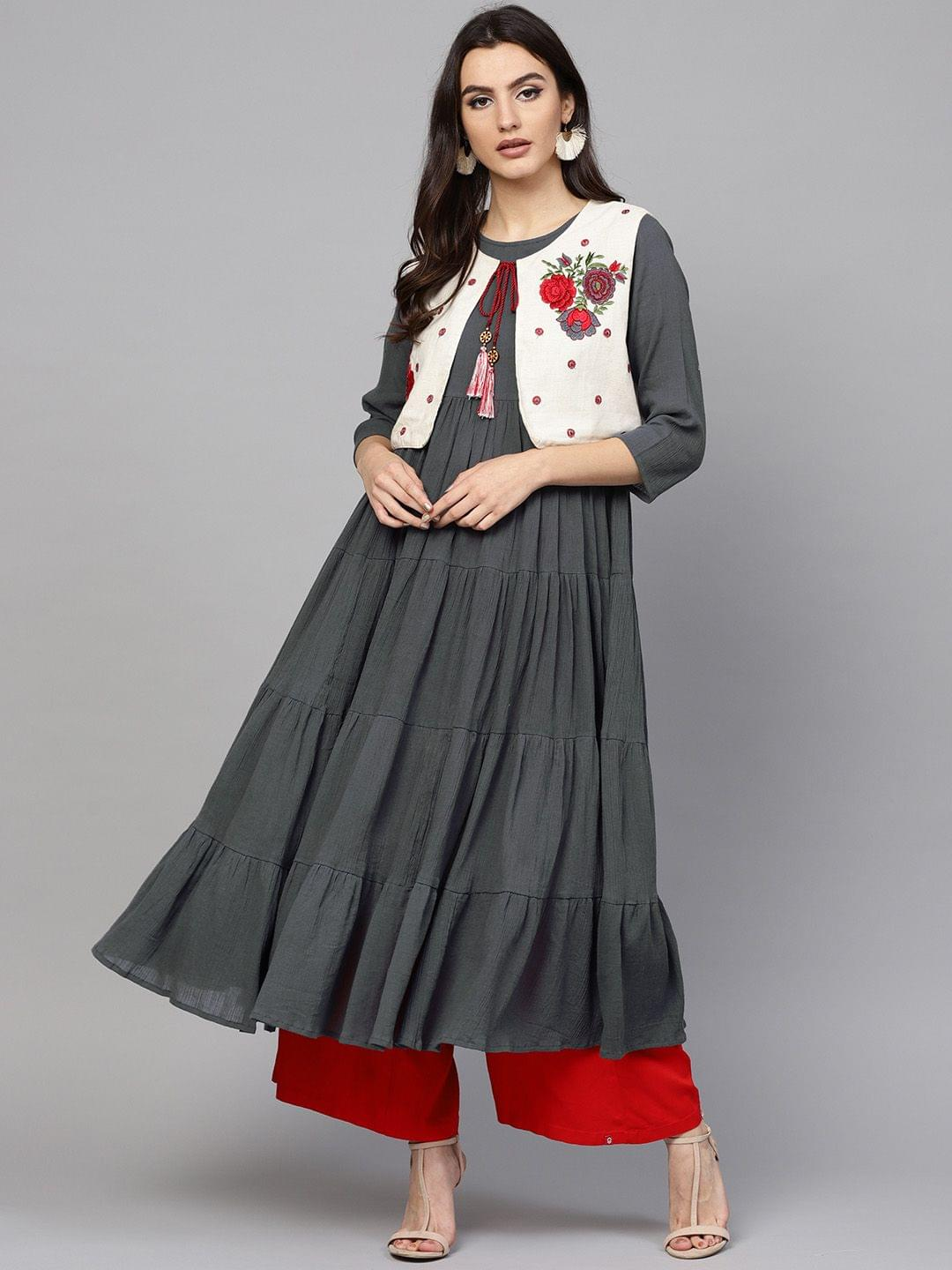 Women Charcoal & Off-White Solid Tiered Anarkali Kurta with Ethnic Jacket