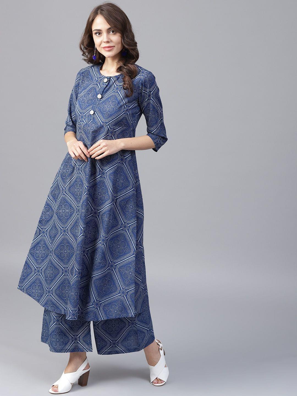 Yufta Women Navy Blue Off-White Printed A-Line Kurta