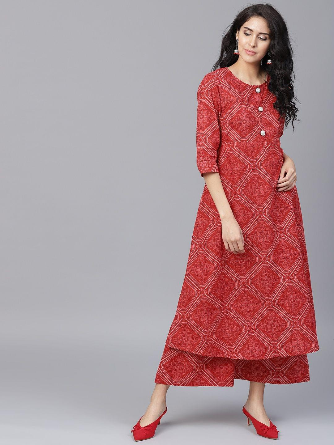 Yufta Women Red Printed A-Line Kurta