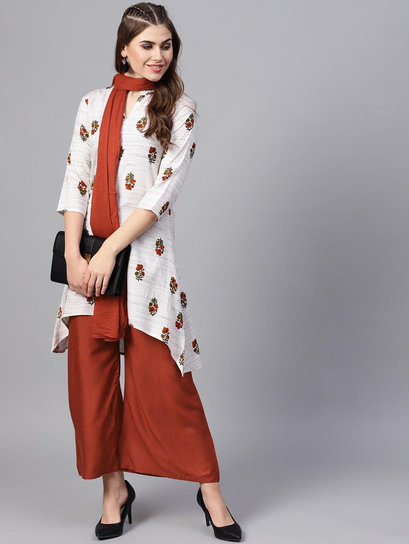 Yufta Women Off-White & Rust Red Printed Kurta with Palazzos & Dupatta