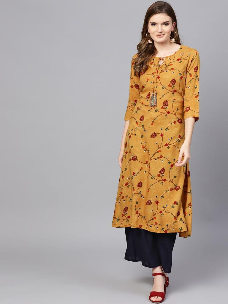 Yufta Women Mustard Yellow & Navy Printed Kurta with Palazzos