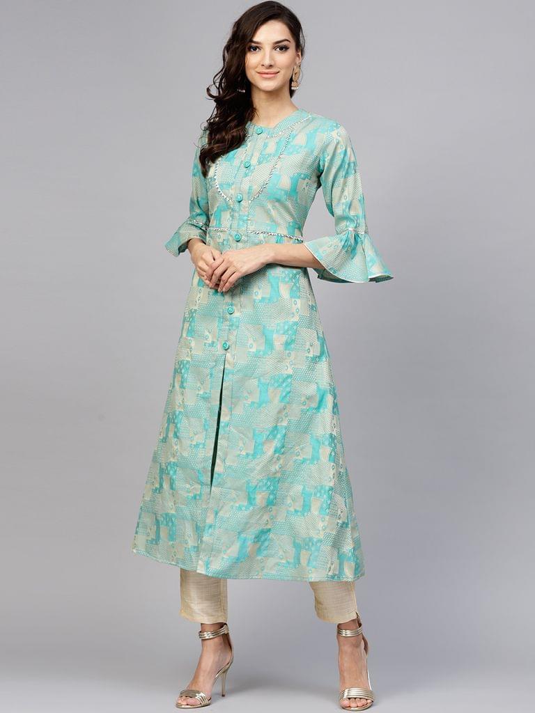 Yufta Women Blue & Beige Woven Design A-Line Kurta