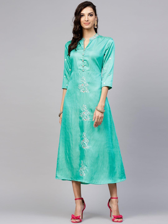 Women Green Embellished Maxi Dress