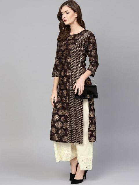 Women Coffee Brown & Off-White Printed Kurta with Palazzos