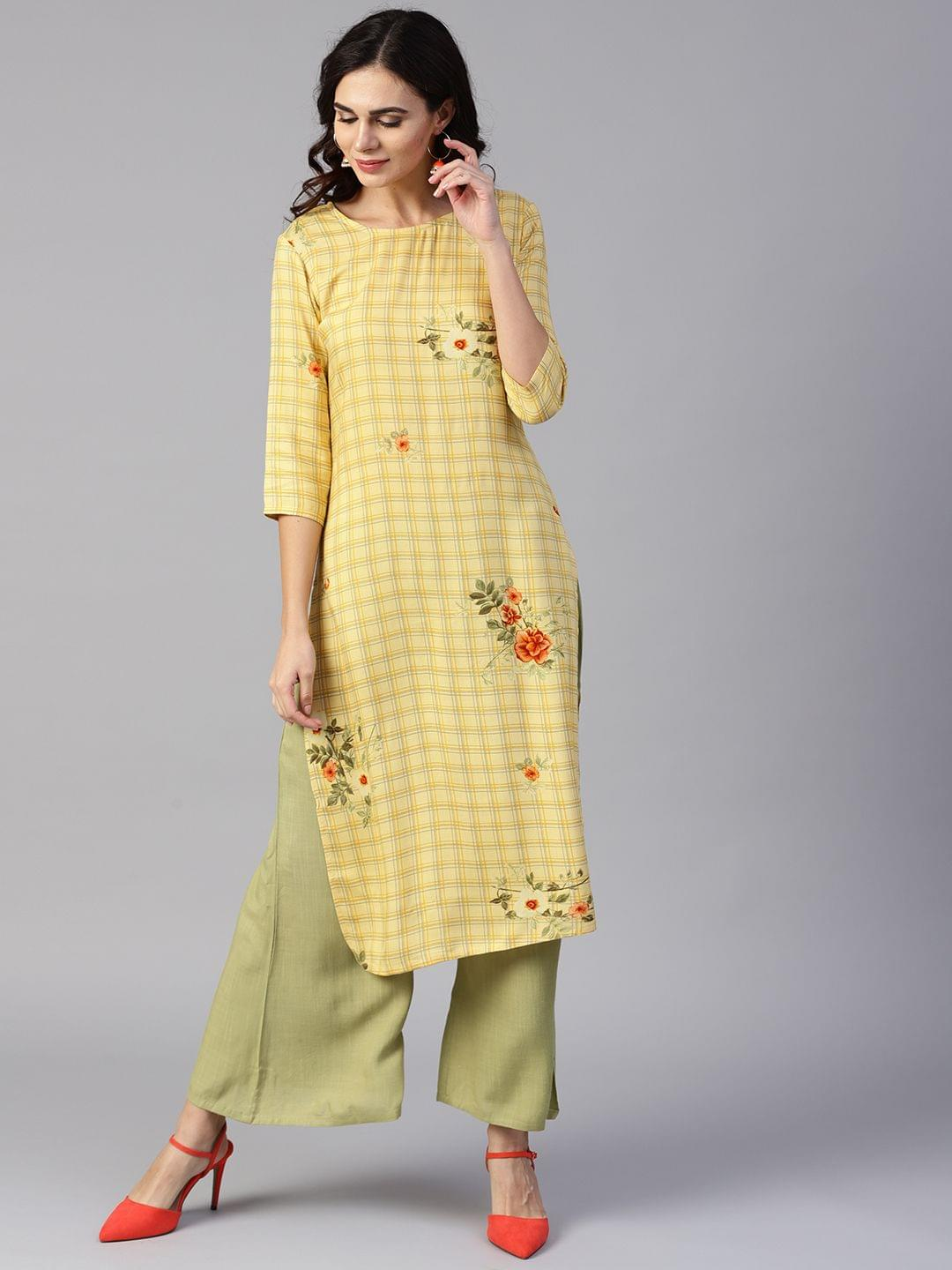 Yufta Women Yellow & Green Printed Kurta with Palazzos