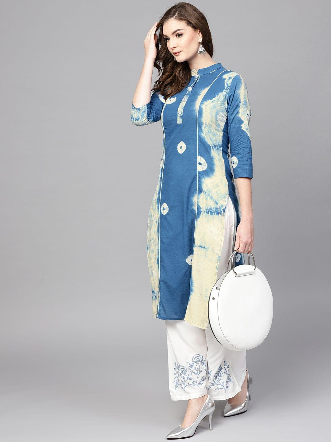 Women Blue & White Bandhani Dyed Kurta with Palazzos