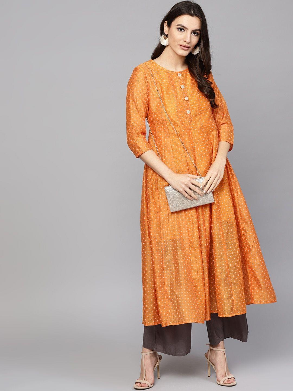 Women Orange & Gold-Toned Printed Anarkali Kurta