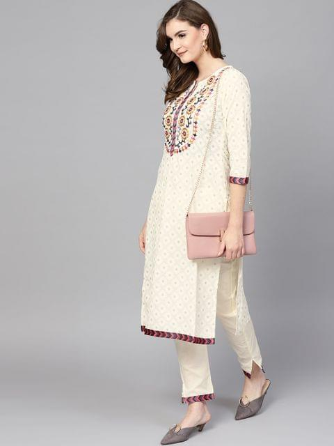 Women Off-White Printed Kurta with Trousers