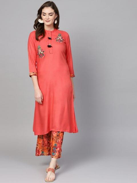 Women Coral Pink Embroidered Kurta with Palazzos