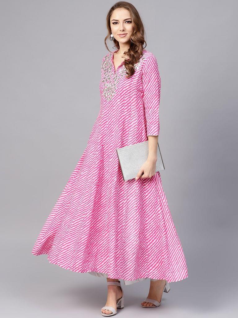 Yufta Women Pink & White Lehariya Print Anarkali Kurta