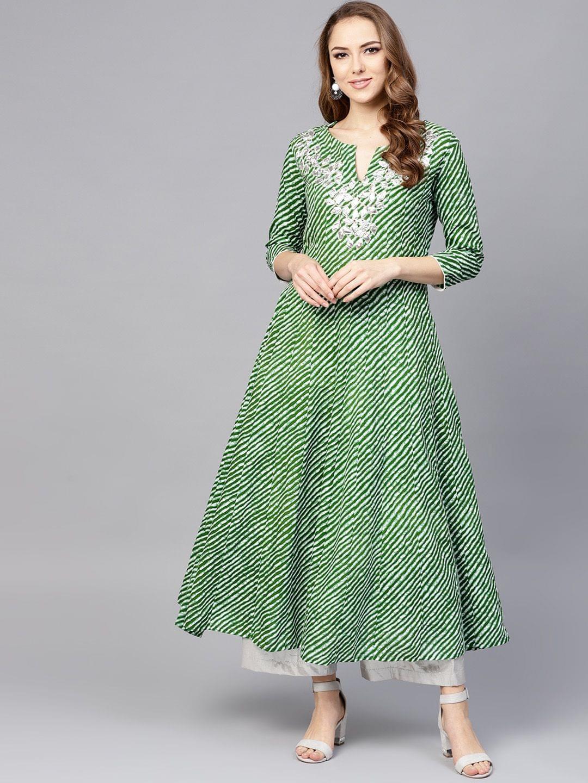 Yufta Women Green & White Lehariya Print A-Line Kurta