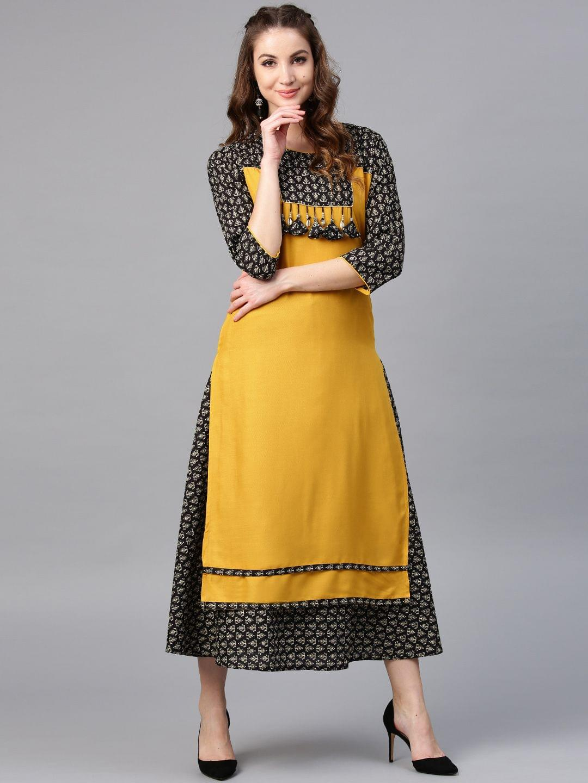 Yufta Women Mustard Yellow & Black Yoke Design Kurta with Skirt