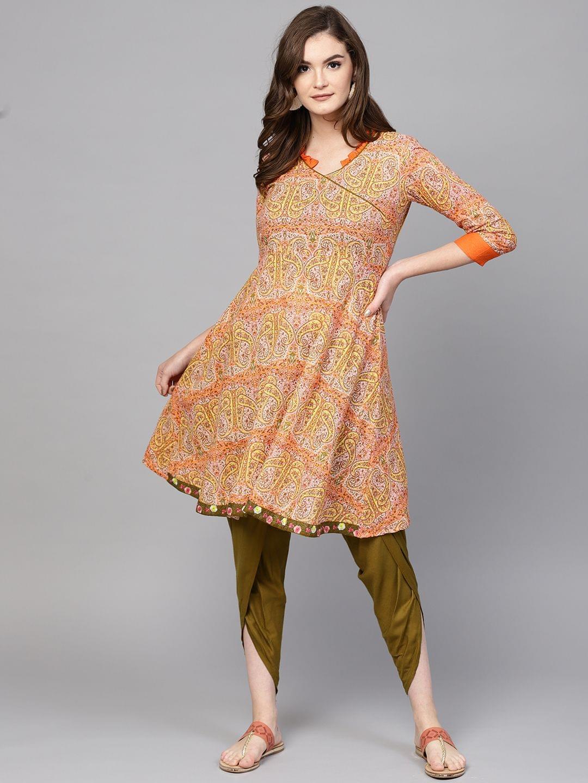 Women Orange & Olive Green Printed Kurta with Dhoti Pants