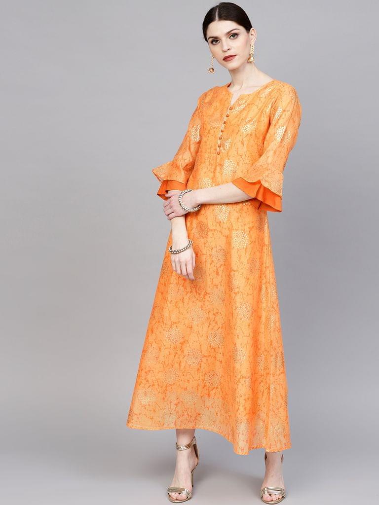 Women Orange & Golden Foil Print Maxi Dress