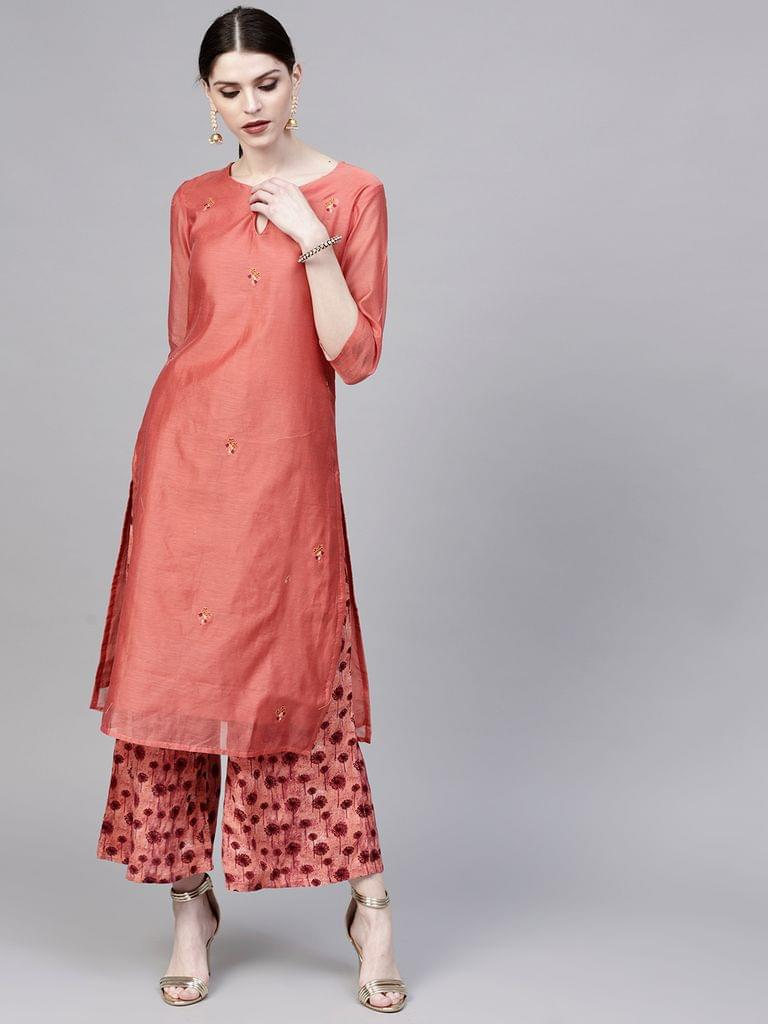 Yufta Women Rust Red Embroidered Kurta with Palazzos