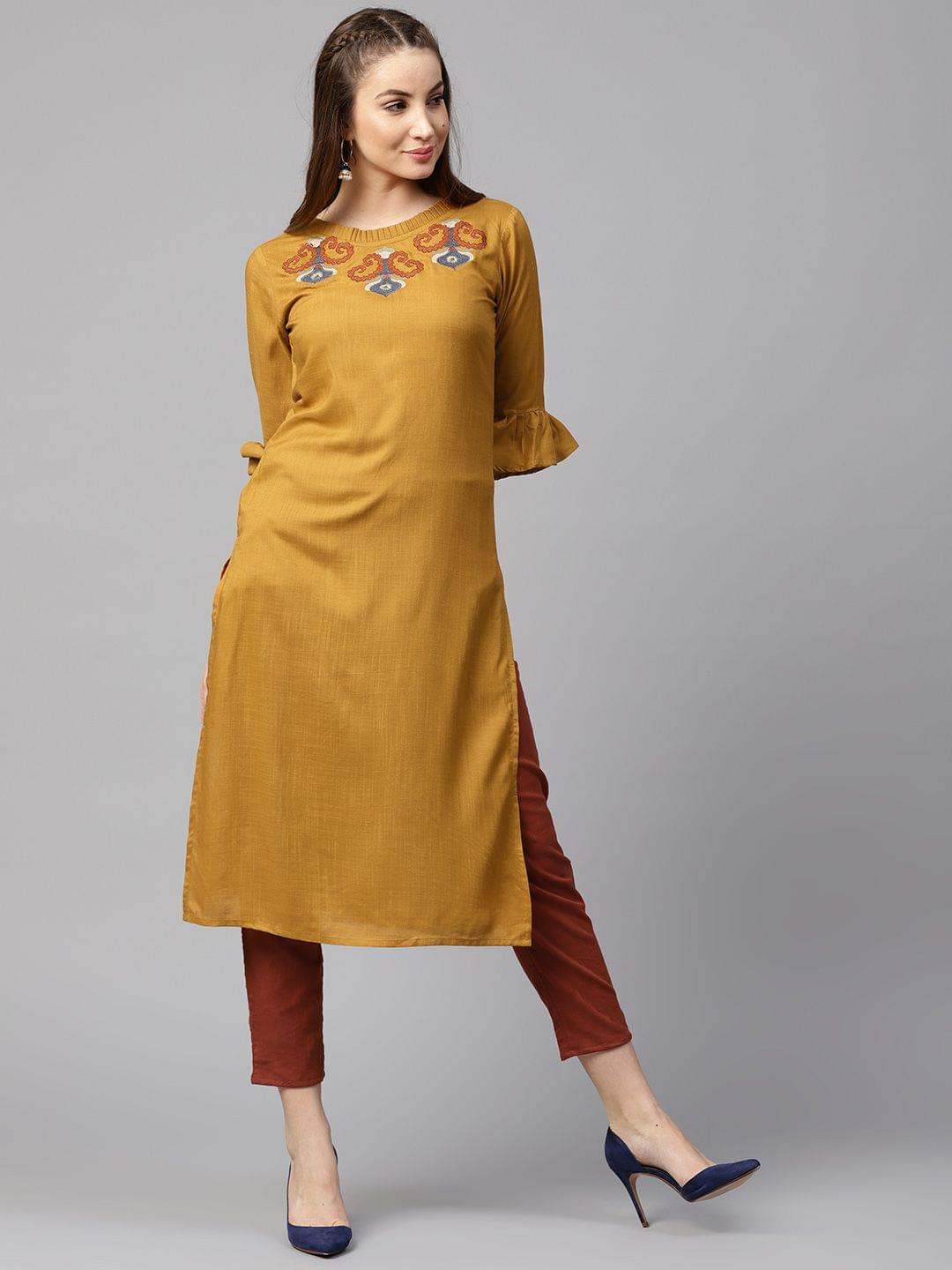 Yufta Women Mustard Yellow & Rust Red Yoke Design Kurta with Trousers
