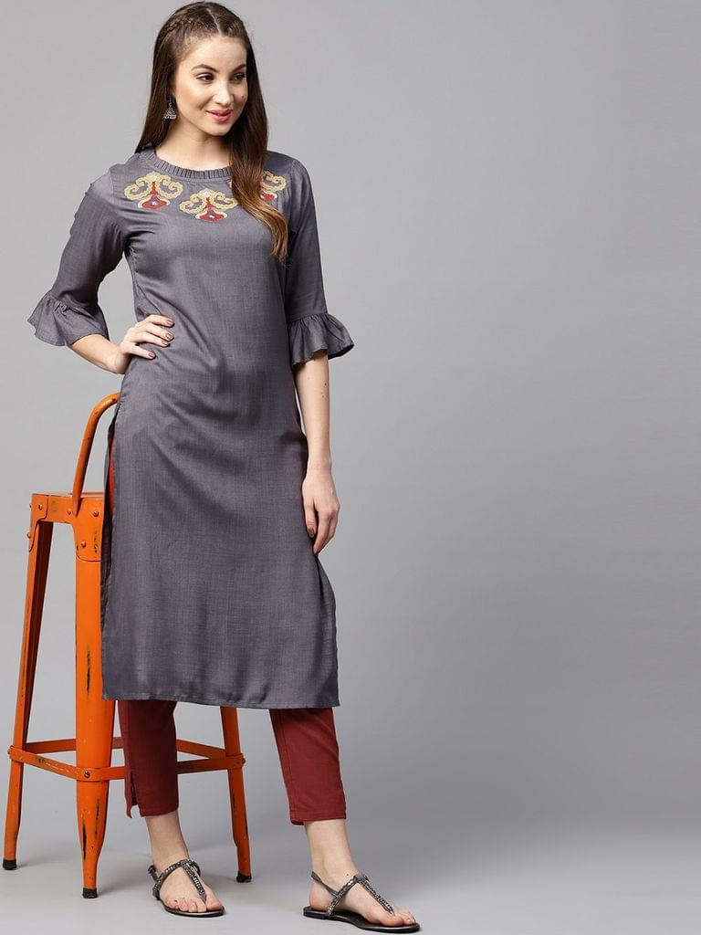 Yufta Women Grey & Maroon Solid Kurta with Trousers