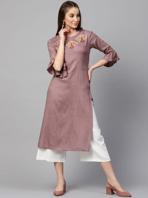 Yufta Women Mauve Yoke Design Straight Kurta