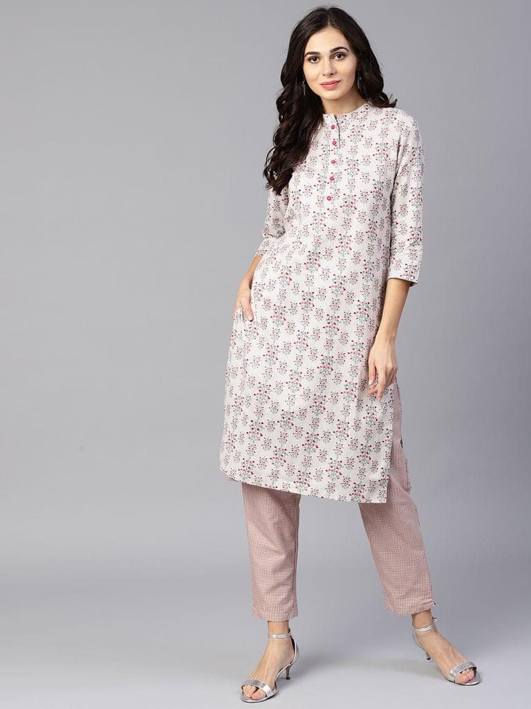 Yufta Women Grey & Coral Pink Printed Kurta with Trousers