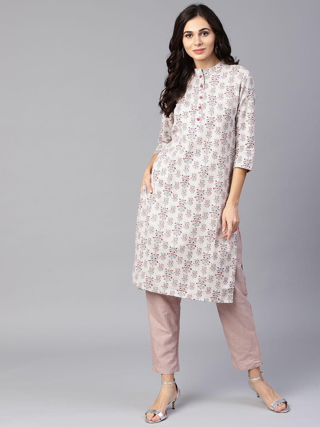 Yufta Women Grey & Coral Pink Printed Kurta with Trousers