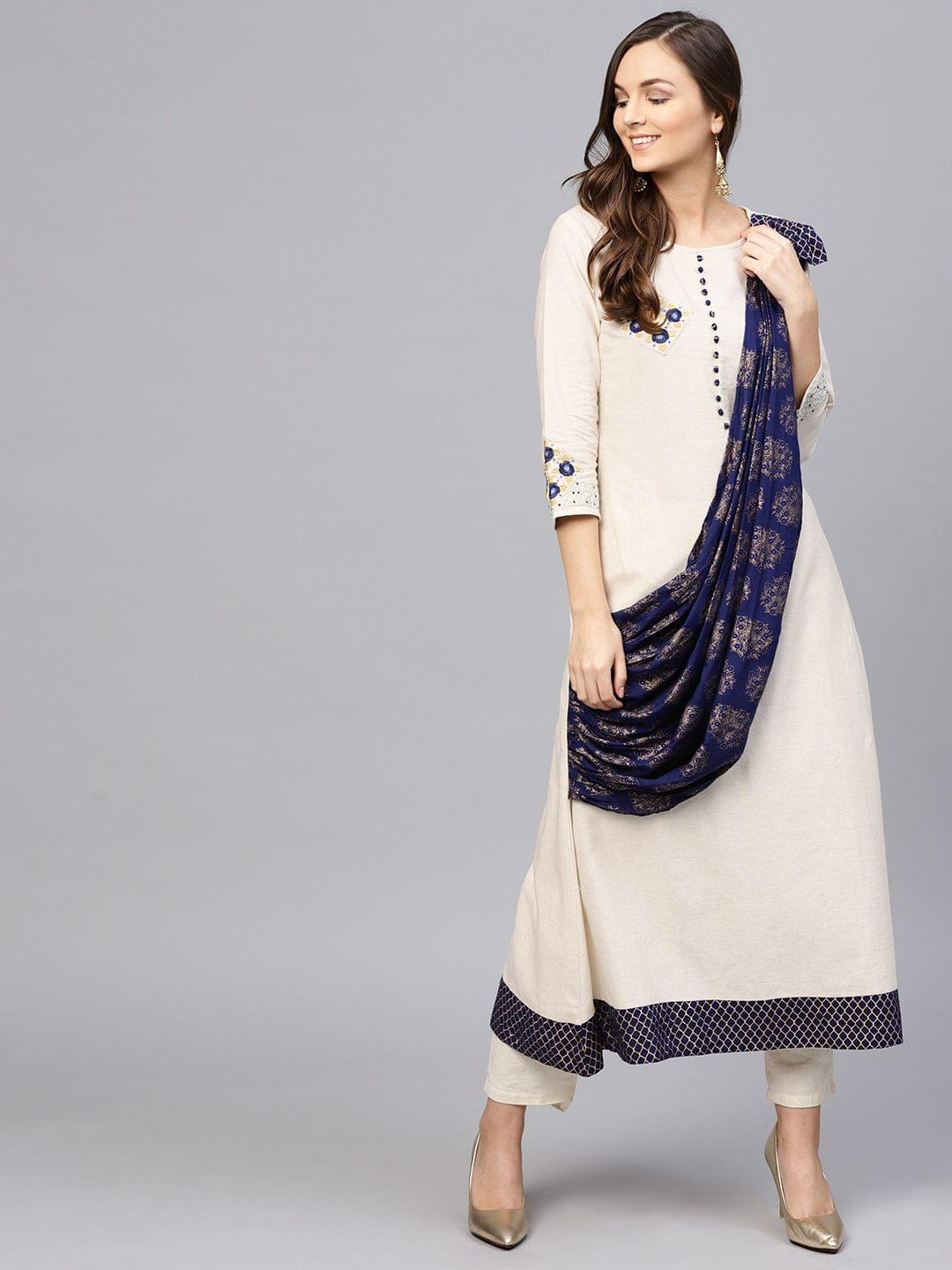 Yufta Women Off-White & Navy Blue Solid A-Line Kurta with Attached Dupatta